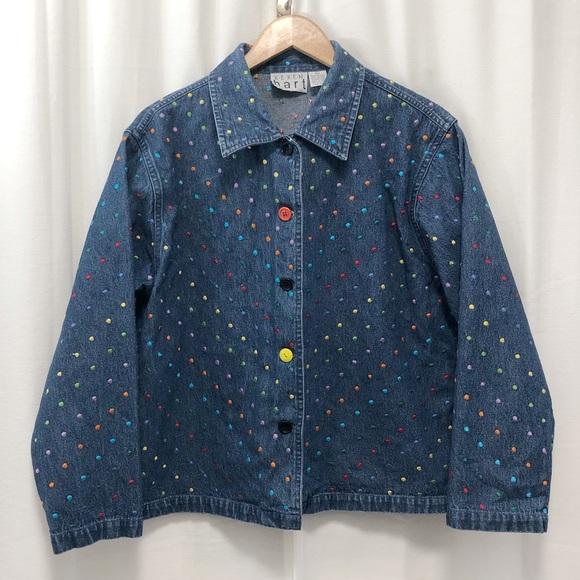 Vintage Keren Hart Ladies Denim Jacket Size Medium Artsy Floral